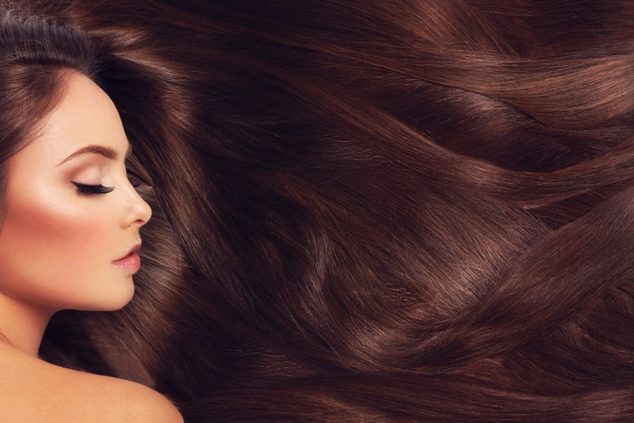 A woman with dark brown hair